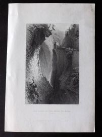 Bartlett Switzerland C1838 Antique Print. Gorge of the Rhine, Via Mala, Grisons